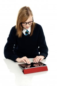 student with tablet